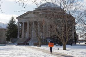 Winter Campus Scenes Otto Walking Hendricks Quad