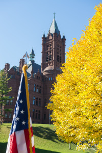 American USA Flag with Crouse College