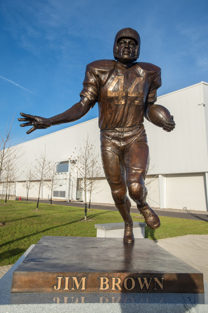 The Clifford Ensley Athletic Center Exterior Plaza 44 Football Jim Brown Statue Sculpture